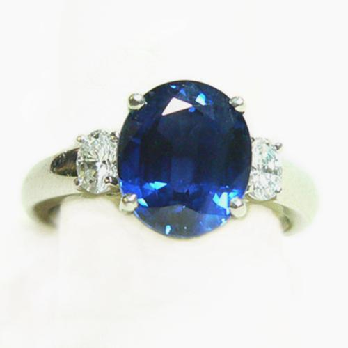 Splendid Sapphire Ring With Diamonds In Platinum - Item # R6143 - Reliable Gold Ltd.