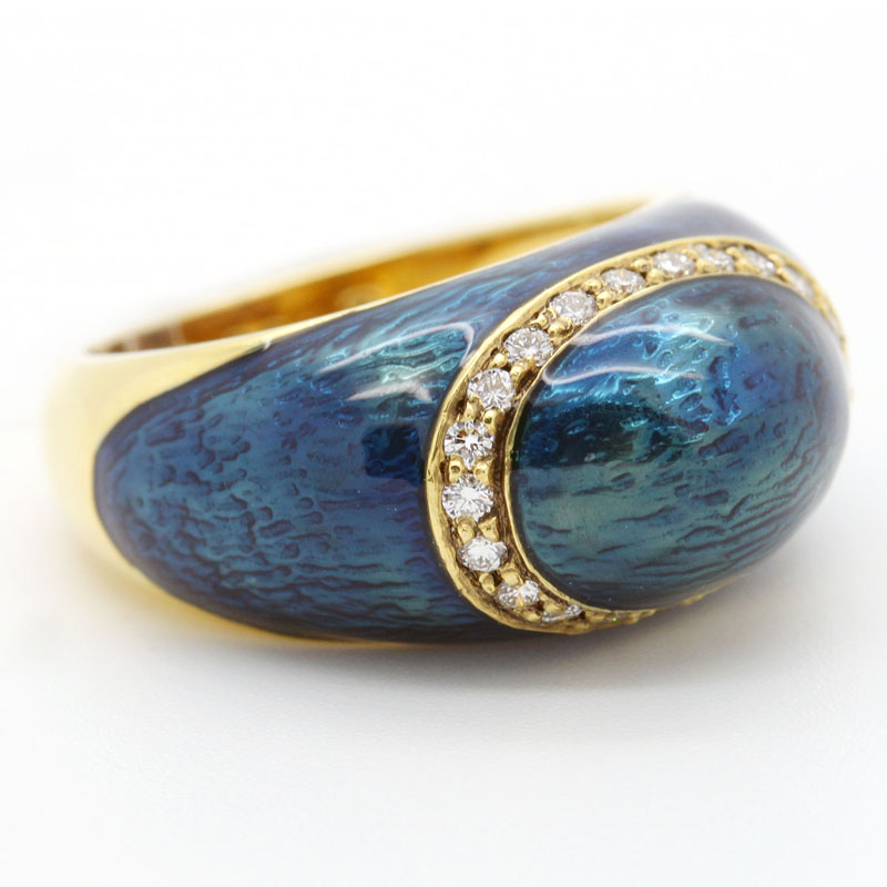 Estate Blue Enamel And Diamond Ring - Item # R6183 - Reliable Gold Ltd.