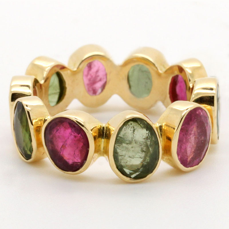 Pink And Green Tourmaline Band - Item # R6191 - Reliable Gold Ltd.