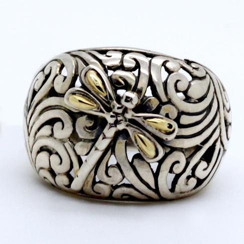 Dragonfly Ring In Sterling And Yellow Gold - Item # R6198 - Reliable Gold Ltd.