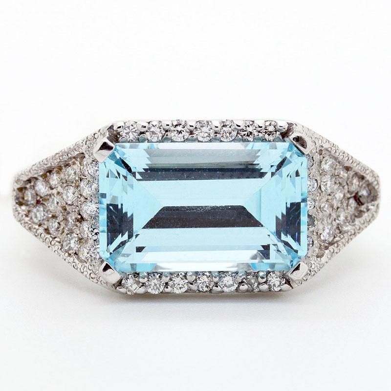 Aquamarine And Diamond Cocktail Ring - Item # R6213 - Reliable Gold Ltd.