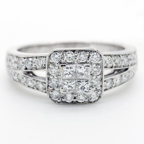 Diamond Cluster Engagement Ring - Item # R6232 - Reliable Gold Ltd.
