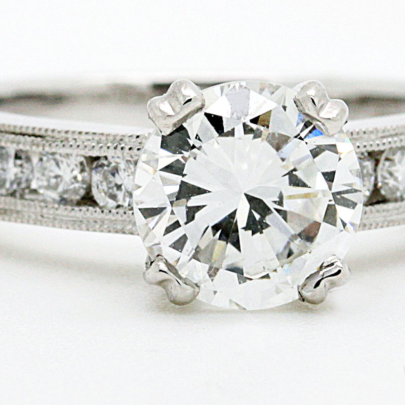 Beautiful Round Diamond Engagement Ring With Channel Set Round Diamond Shank - Item # R6252 - Reliable Gold Ltd.