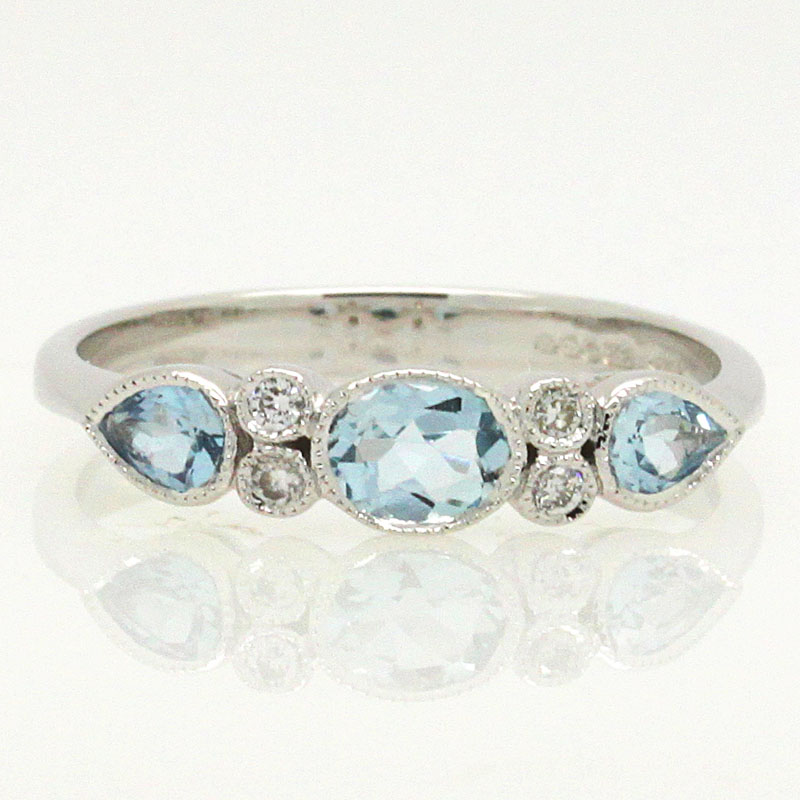 Delicate And Beautiful Aquamarine And Diamond Band - Item # R6297 - Reliable Gold Ltd.