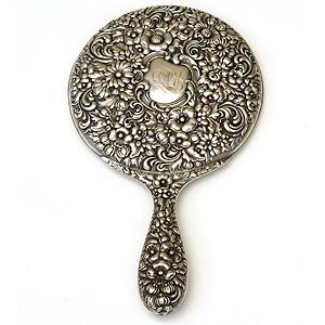 Repousse Sterling Silver Hand Mirror By Gorham - Item # SSH001 - Reliable Gold Ltd.
