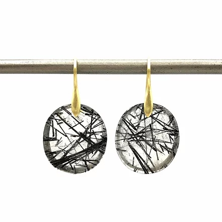 Tourmalinated Quartz Circle Earrings - Item # ER1682 - Reliable Gold Ltd.