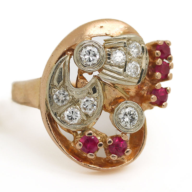 Abstract 1940's Ruby & Diamond Ring In Rose Gold - Item # R2683A - Reliable Gold Ltd.