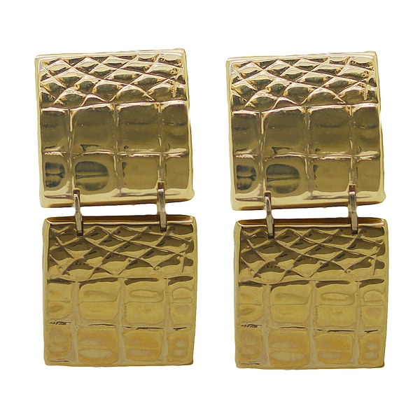 Alligator Pattern Gold Drop Earrings - Item # ER0245 - Reliable Gold Ltd.