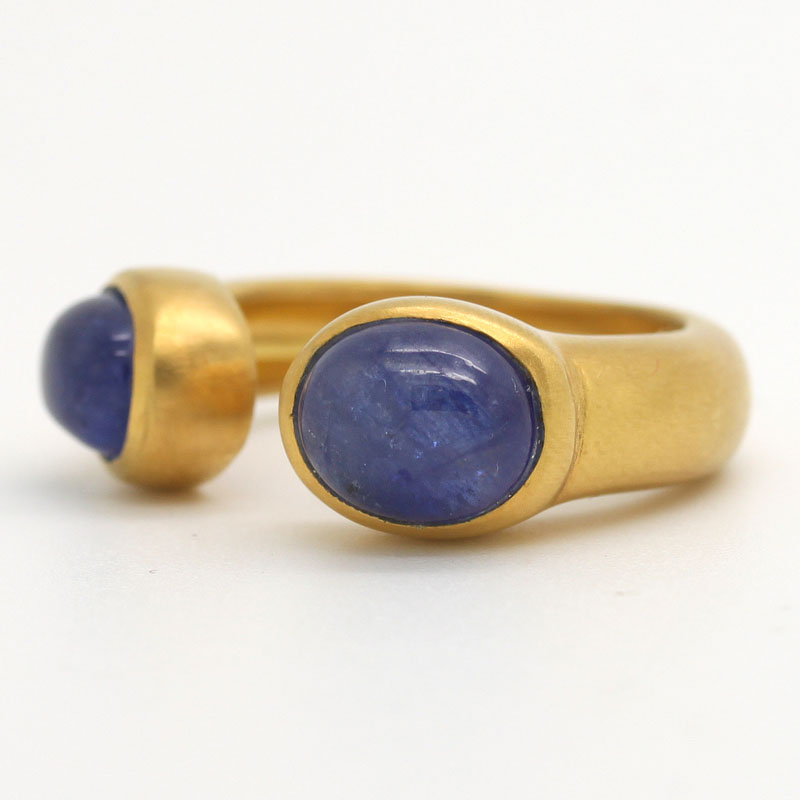 Sapphire Cabochon Open Band Ring - Item # R0061 - Reliable Gold Ltd.