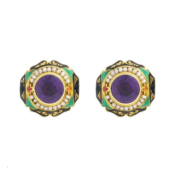 Enamel Amethyst With Seed Pearl Earrings - Item # GKC02 - Reliable Gold Ltd.
