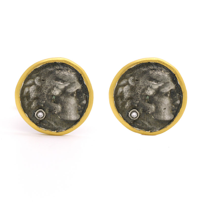 Antique Coin Cuff Links With Diamond - Item # CL0001 - Reliable Gold Ltd.