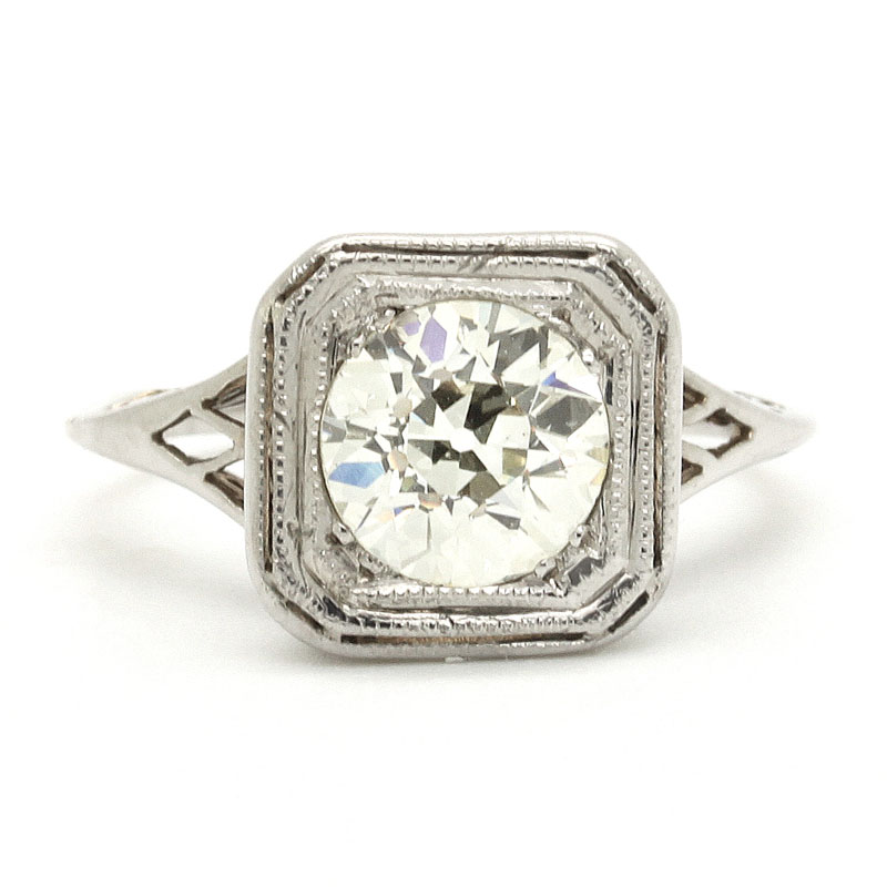 Antique Diamond Engagement Ring In Square Head Mounting - Item # R0015 - Reliable Gold Ltd.