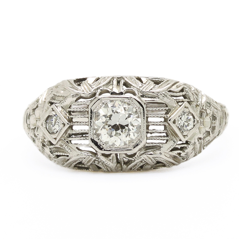 Antique Diamond Ring With Openwork And Filigree Mounting - Item # R0017 - Reliable Gold Ltd.