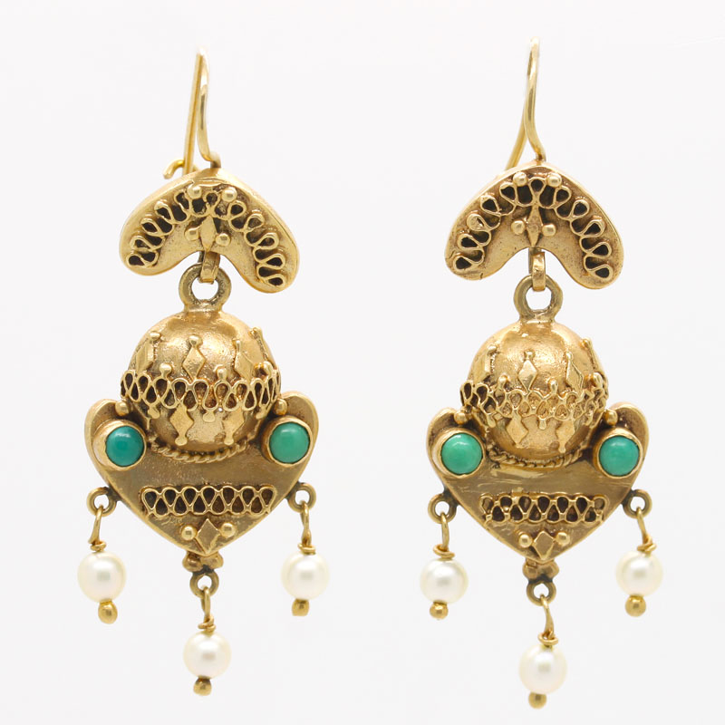 Antique Yellow Gold Drop Earrings With Turquoise & Pearl - Item # ER0016 - Reliable Gold Ltd.