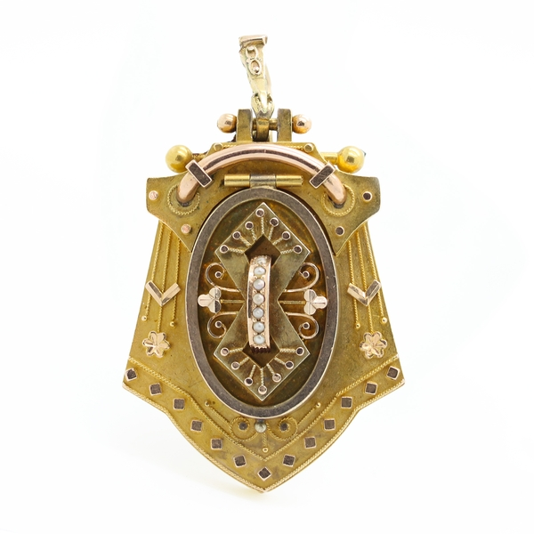 Antique Victorian Locket Pendant/Pin - Item # PE0041 - Reliable Gold Ltd.