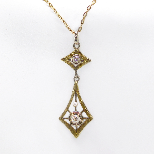 Antique Style Diamond & Pearl Pendant - Item # N0191 - Reliable Gold Ltd.