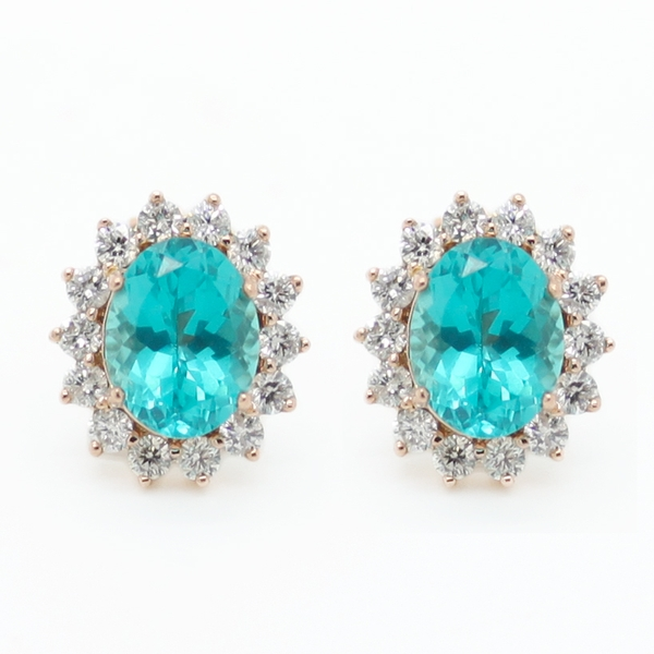 Apatite & Diamond Earrings - Item # ER0399a - Reliable Gold Ltd.