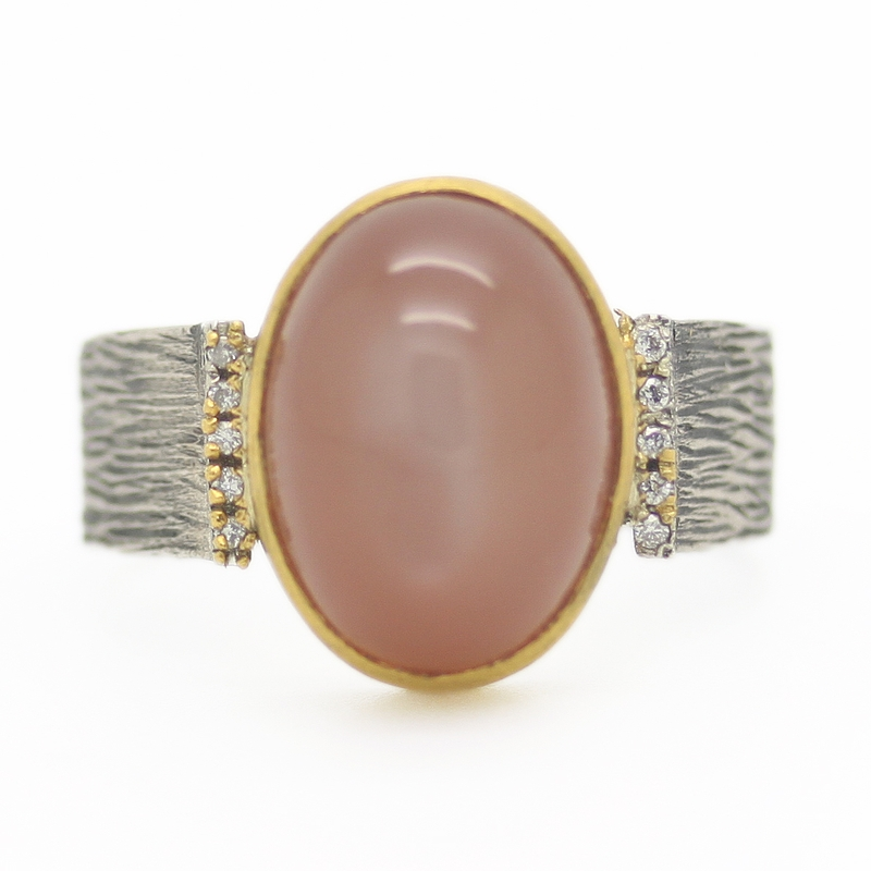 Apricot Moonstone Ring - Item # R0177 - Reliable Gold Ltd.