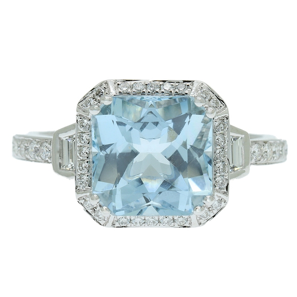 Aquamarine & Diamond Ring - Item # R1628 - Reliable Gold Ltd.
