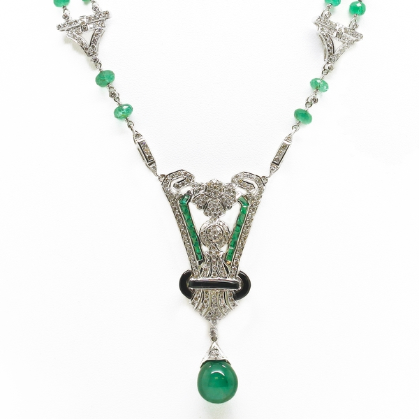 Art Deco Style Emerald & Diamond Necklace With Onyx - Item # HM0040 - Reliable Gold Ltd.