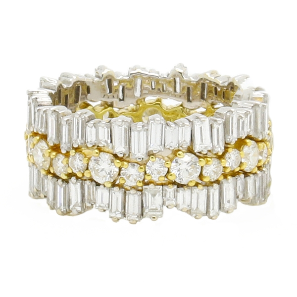 Baguette and Round Diamond Stacked Band - Item # JM16949 - Reliable Gold Ltd.