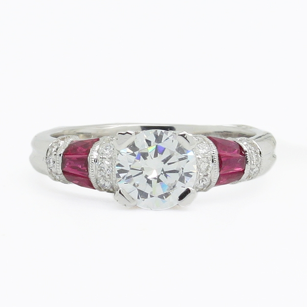 Baguette Ruby & Diamond Semi-Mount Ring - Item # R0577 - Reliable Gold Ltd.