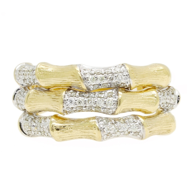 Yellow Gold Bamboo Diamond Ring - Item # RMC7410D - Reliable Gold Ltd.