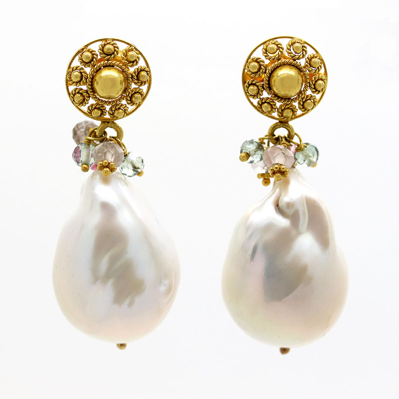 Baroque Pearl Drop Earrings With Ornate Filigree Yellow Gold Posts & Multicolor Gemstone Drops - Item # ER0057 - Reliable Gold Ltd.