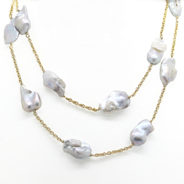 Baroque Pearl By The Yard Necklace - Item # N0257 - Reliable Gold Ltd.