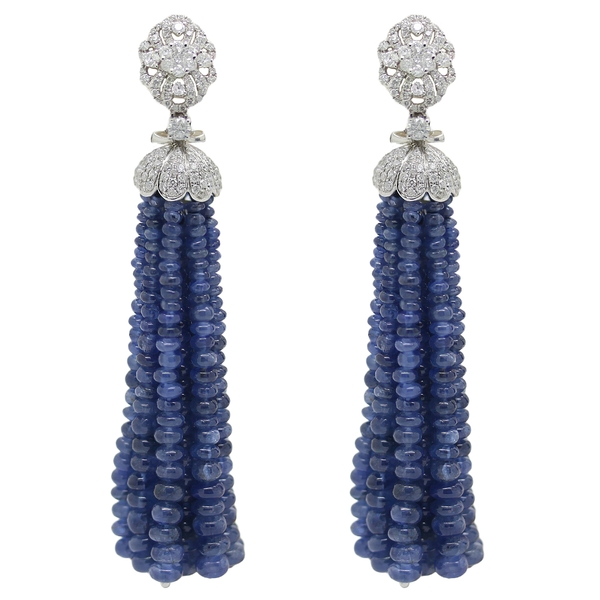 Sapphire Tassel Drop Earrings With Diamonds - Item # ER0398 - Reliable Gold Ltd.