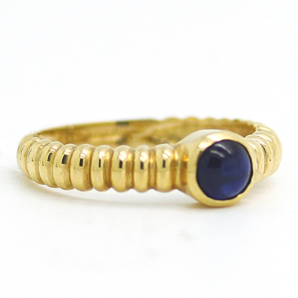 Bezel Set Cabochon Sapphire Ring - Item # R0448 - Reliable Gold Ltd.