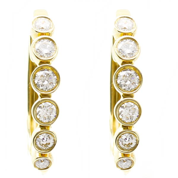 Yellow Gold Diamond Hoop Earrings - Item # ER1700 - Reliable Gold Ltd.