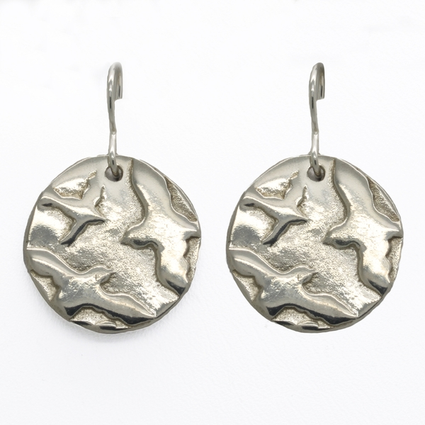 Birds In Flight Coin Earrings - Item # TRM005 - Reliable Gold Ltd.