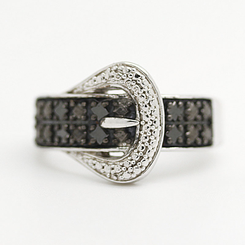 Black Diamond Buckle Ring - Item # R6298 - Reliable Gold Ltd.