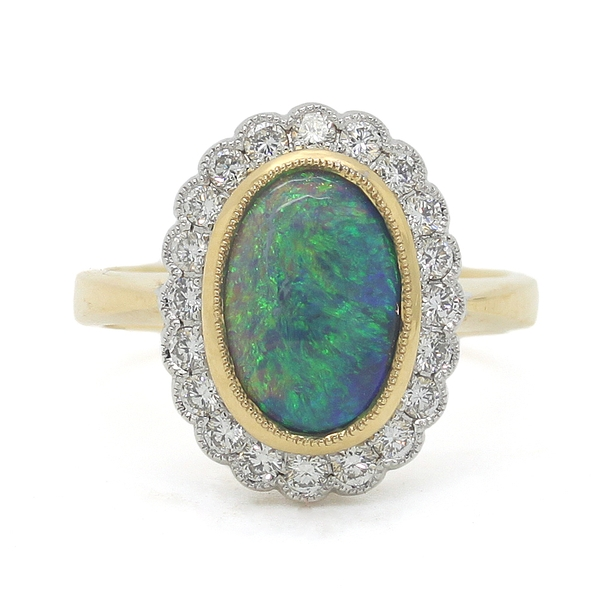 Black Opal & Diamond Ring - Item # R0363 - Reliable Gold Ltd.