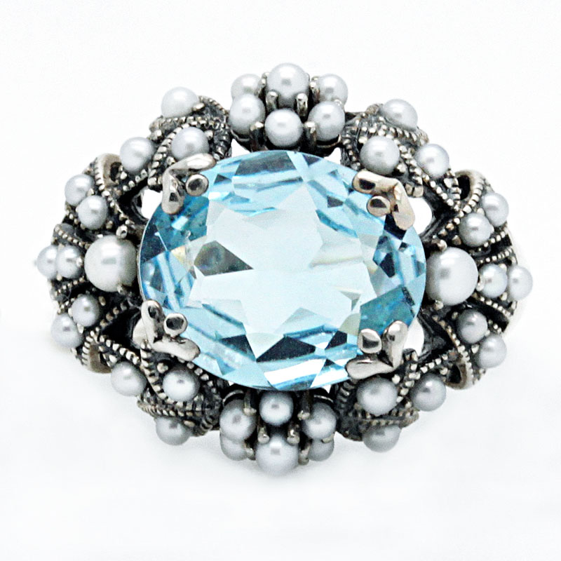 Blue Topaz And Pearl Ring In Silver - Item # R6230 - Reliable Gold Ltd.
