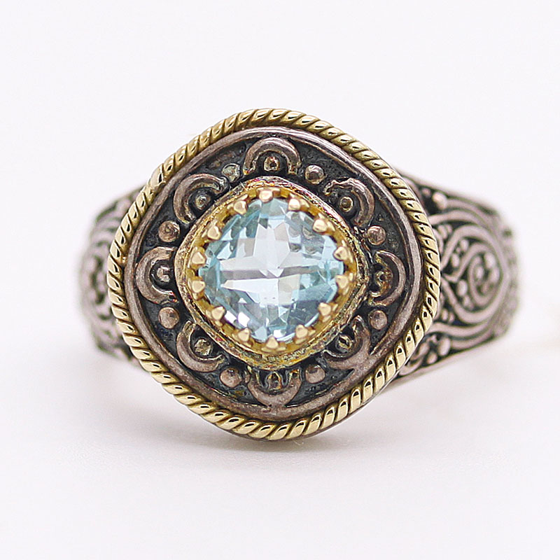 Blue Topaz 18K Sterling Silver Ring - Item # R6235 - Reliable Gold Ltd.