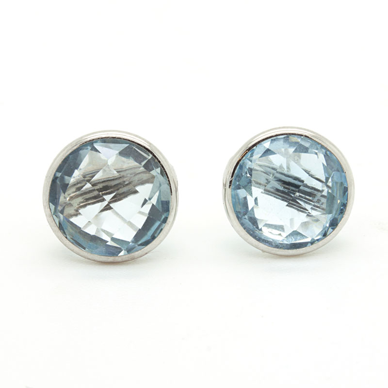 Sky Blue Topaz Stud Earrings In White Gold - Item # ER4994 - Reliable Gold Ltd.