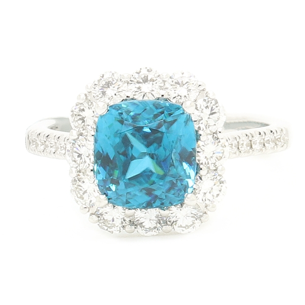 Blue Zircon & Diamond Ring - Item # R1801 - Reliable Gold Ltd.