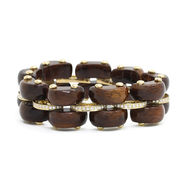 Diamond & Polished Wood Bracelet - Item # B0266 - Reliable Gold Ltd.