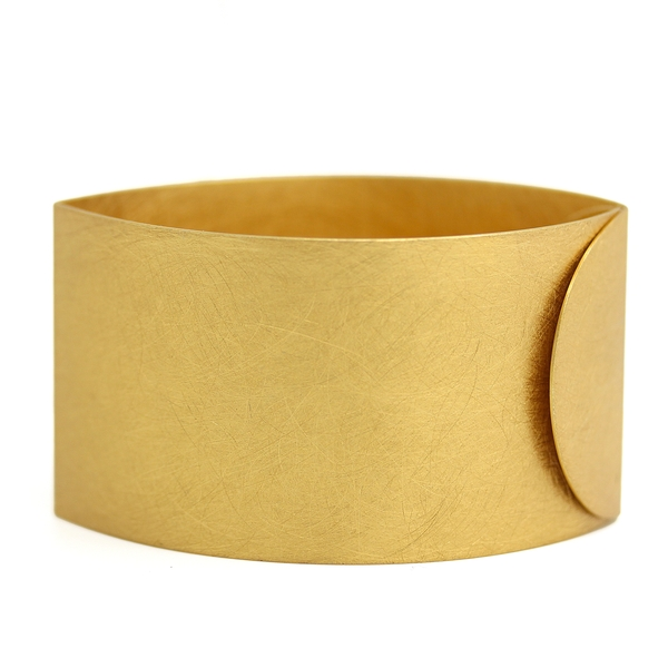 Brushed Gold Plated Silver Cuff Bracelet - Item # B0214 - Reliable Gold Ltd.