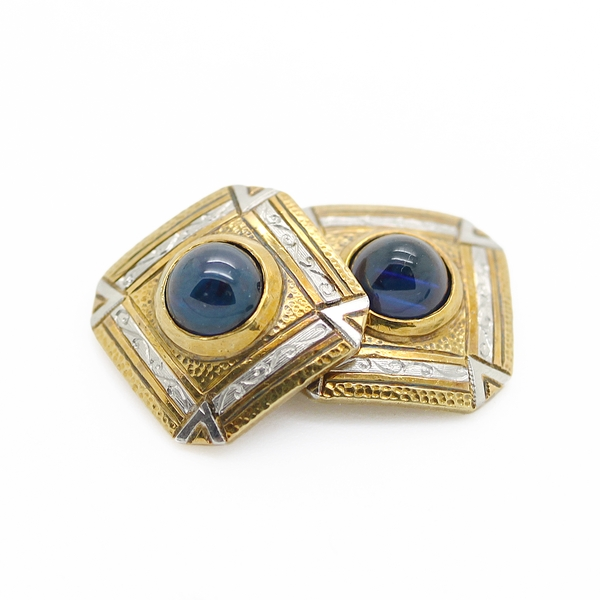 Cabochon Sapphire Cufflinks In Engraved Gold - Item # CL0010 - Reliable Gold Ltd.