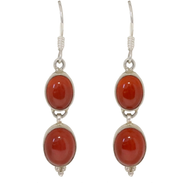 Silver Carnelian Drop Earrings - Item # ER1726 - Reliable Gold Ltd.
