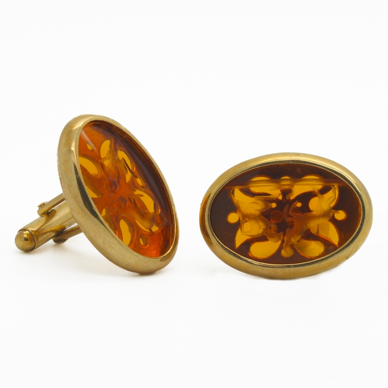 Carved Citrine Cufflinks - Item # SM0001 - Reliable Gold Ltd.