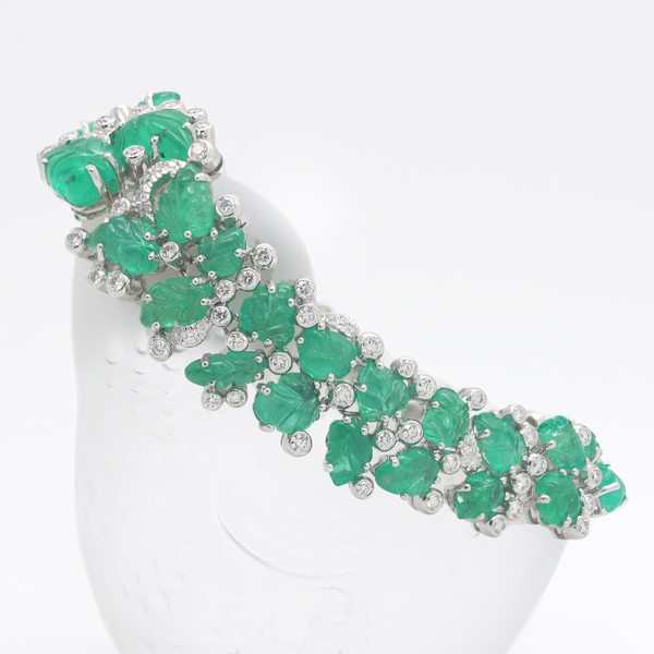 Carved Emerald & Diamond Bracelet - Item # HM0195 - Reliable Gold Ltd.