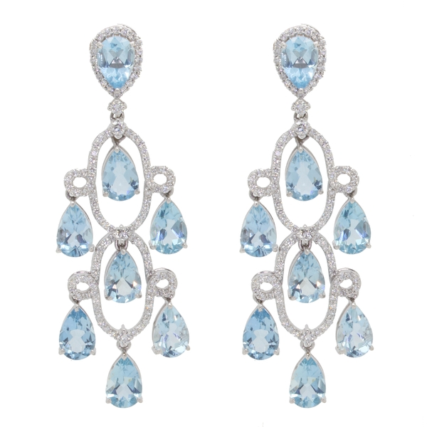 Pear Shaped Aqua And Diamond Chandelier Earrings - Item # HM0274 - Reliable Gold Ltd.