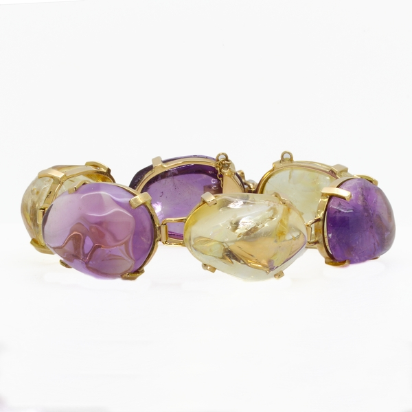 Chunky Citrine & Amethyst Bracelet - Item # B1302 - Reliable Gold Ltd.