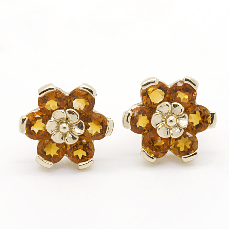 Citrine Flower Stud Earrings Set In Yellow Gold - Item # ER3588 - Reliable Gold Ltd.
