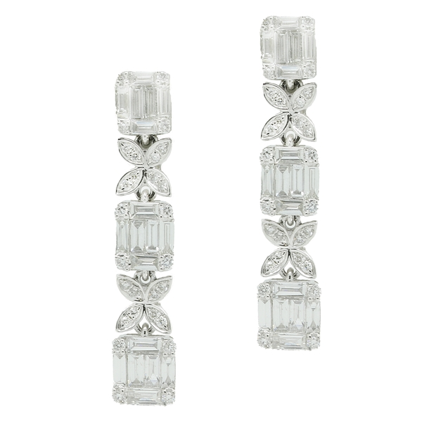 Diamond Column Earrings - Item # ER1539 - Reliable Gold Ltd.