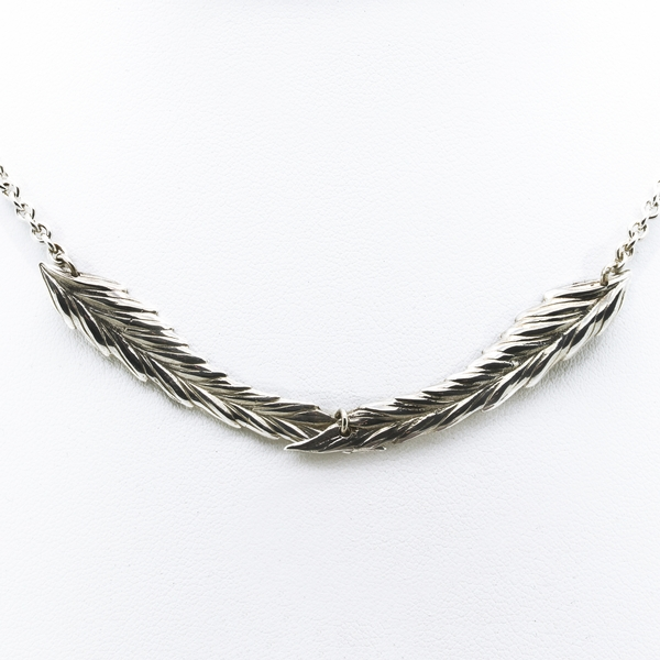 Crossed Leaves Sterling Necklace - Item # TRM008 - Reliable Gold Ltd.